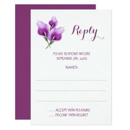 Purple Calla Lily Monogram Wedding Reply Cards - wedding invitations diy cyo special idea personalize card