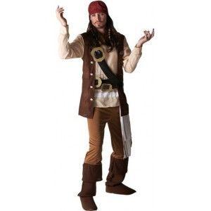 Déguisement Jack Sparrow pirate des caraibes Disney adulte, Déguisement pirate des caraibes homme licence Disney.