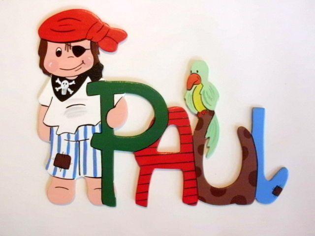Simple Namensschild T rschild mit Pirat und Papagei