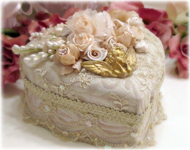 Lace and roses covered heart box.