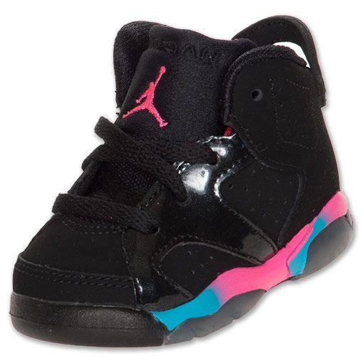 Jordan Retro VI Toddler Shoes| FinishLine.com | Black/Pink Flash/Marina Blue