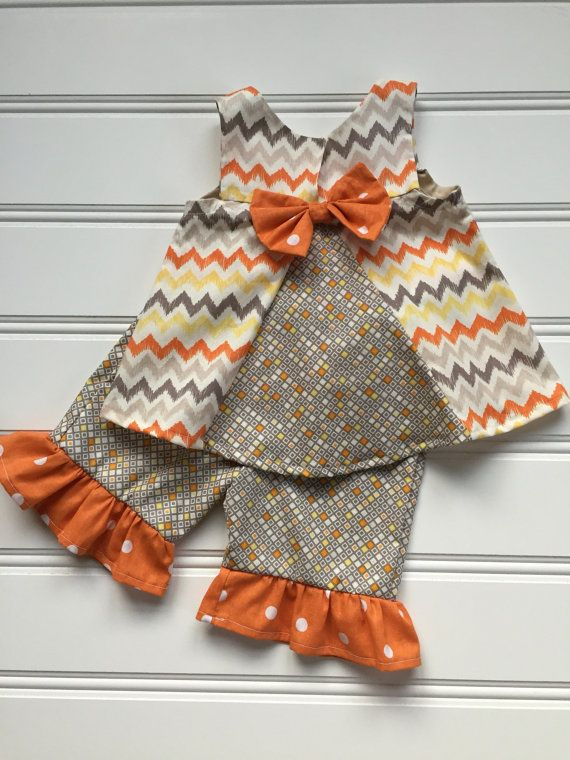 Baby Girl Outfit, Trendy Baby Girl Clothes, Baby Thanksgiving Outfit, Girls Ruffle Pants, Infant Girl Clothes