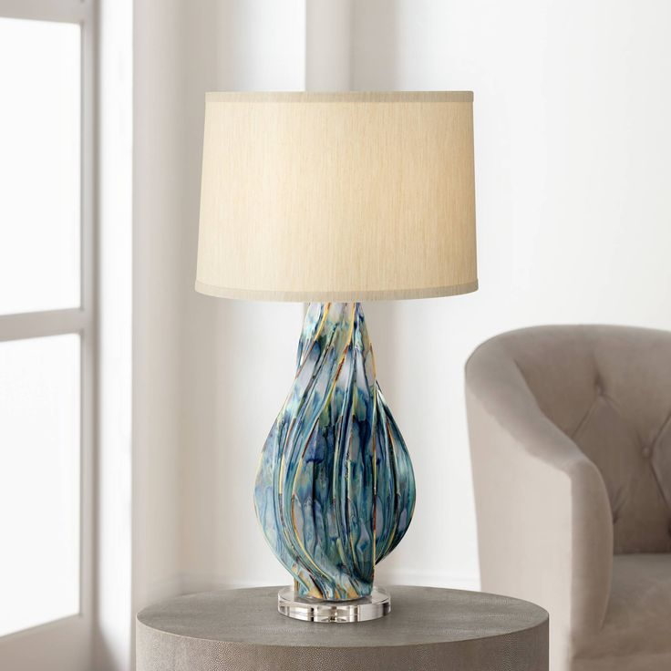 Teresa teal drip ceramic table lamp 1f455 lamps plus