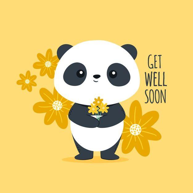 Get Well Soon With Cute Panda Bear Free Free Vector Freepik Freevector Design Cute Panda Cute Panda Wallpaper Red Panda Cartoon