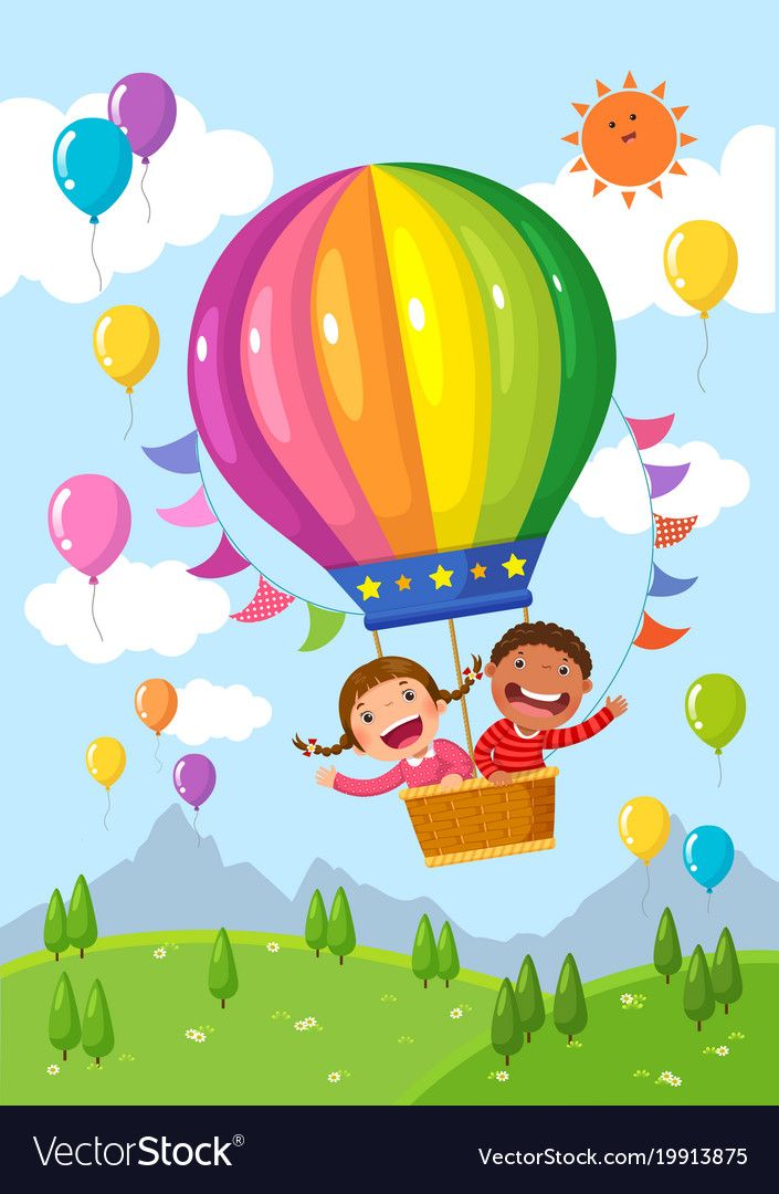 Cartoon kids riding a hot air balloon over the field. Download a Free Preview or…