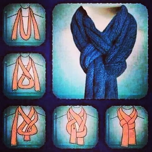 There are many ways to tie a scarf.