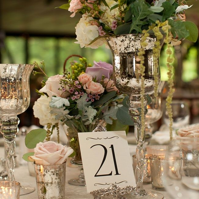 Antique table number holder |  Lauren Barney Photography, Inc | Something New Florist and Events | www.theknot.com
