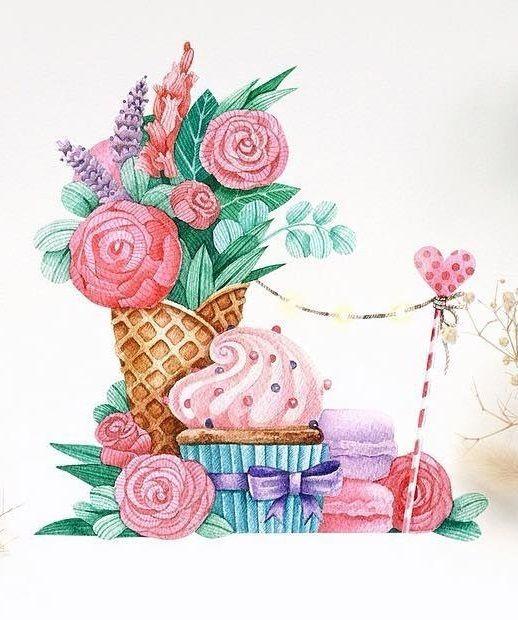 """1,110 Me gusta, 21 comentarios - Tonia Tkach (@tonia_tkach) en Instagram: """"А вот и следующая картинка🌿🌸🍦 Желтенький кекс был для малышей, розовый для их мам или старших…"""""""