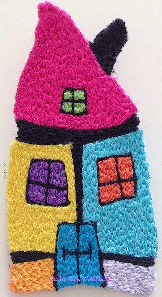 Happy House brooch.  2016.  Free machine embroidery using rayon and polyester threads.