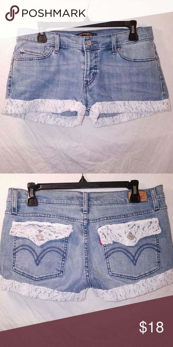 Upcycled jean shorts with lace Adorable shorts with lace on the cuff and pockets. Super cute and absolutely unique. Shorts Jean Shorts