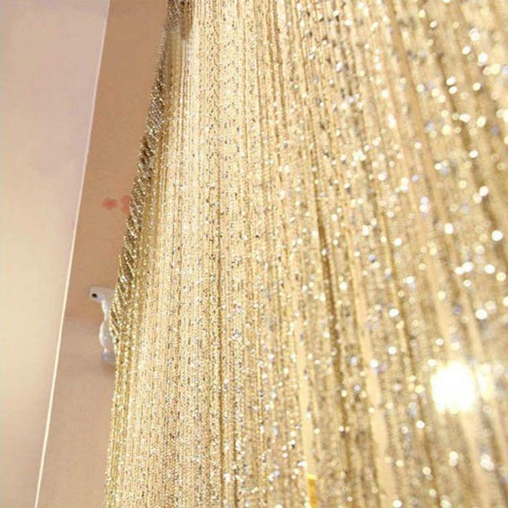 Fabrik Preis! 13 Farben Vogue Vorhang Silber Seide Quaste String 200 cm x 100 cm Tür Fenster Wohnzimmer Teiler Vorhang Valance