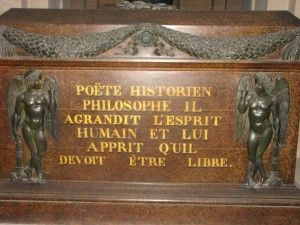 Because of his known criticism of the church, which he had refused to retract before his death, Voltaire was denied a Christian burial, but friends managed to bury his body secretly at the abbey of Scellières in Champagne. His heart and brain were embalmed separately. On July 11, 1791, the National Assembly, which regarded him as a forerunner of the French revolution, had his remains brought back to Paris and enshrined in the Panthéon. -Halloween Special: The Graves of Famous Writers…
