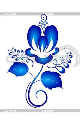 Russian Gzhel ornaments & patterns.4542408-blue-floral-ornament-design-element-in-gzhel-style.jpg (266×400)