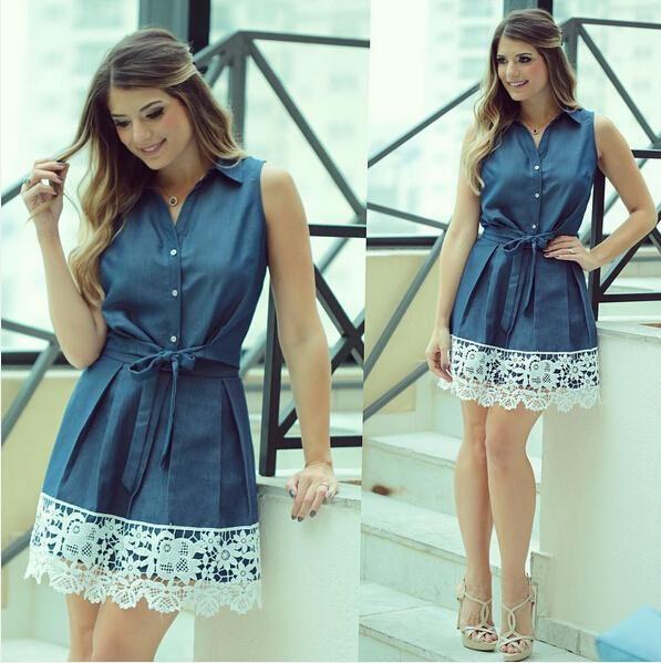 Vestido de renda mangas, estilo elegante Vestidos De Femininos Vestidos mulheres Turn Down Collar azul