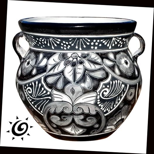 Exclusive Black U0026 White Talavera Hand Painted Pottery. This Fat Bowl Shaped  Garden Planter Has