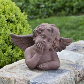 Check out the Alfresco Home 61-7124 Putto Thinking Statue in Antique Rust
