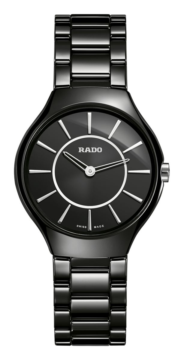 RADO True Thinline, black high-tech ceramic watch. Made in Switzerland. R27742162. Authorized Rado Dealer. Free CDN shipping