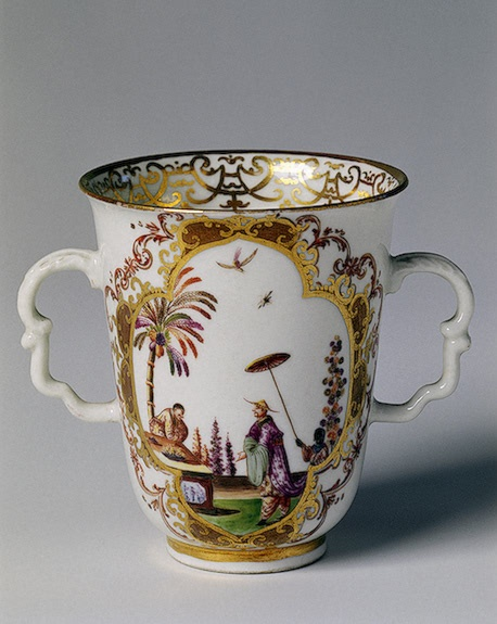 Chocolate Cup  Service with the Coat-of-Arms of Russia  Irminger, J.J. (model); Schiendler, P.E.(The Elder) (painting). Workshop of Johann Georg Funcke (gilding)  Germany, Meissen. Circa 1715-1727 Porcelain; overglaze painting with gilding. H. 8 cm, diam. 7.4 cm The State Hermitage Museum