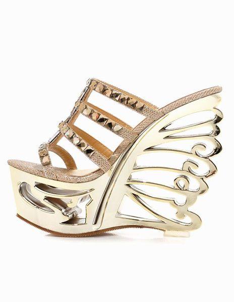 Splendidi Sandali con zeppa Chic con Strass Gold Cowhide Rhinestone Sandals