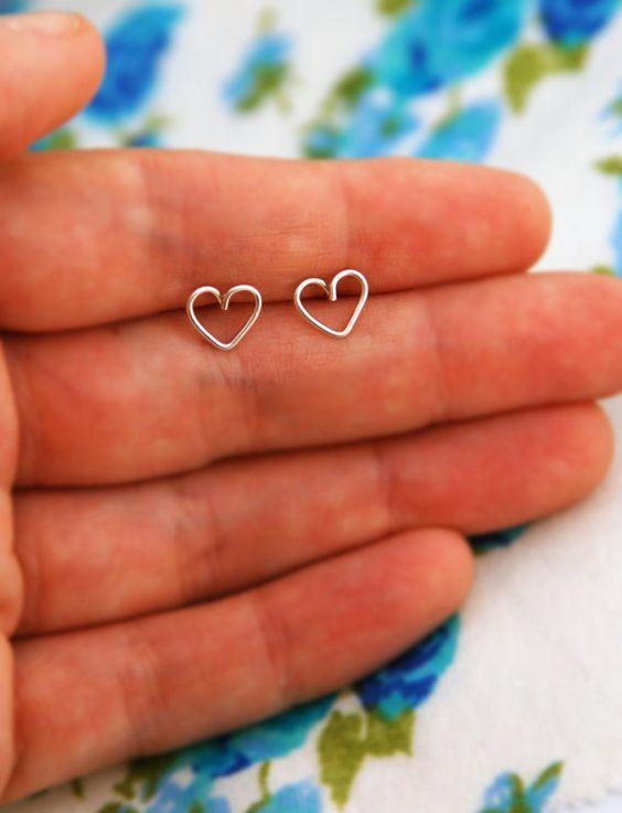Heart stud earrings tiny heart earrings small heart by maylanajuli, $10.00