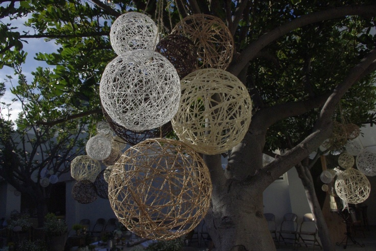 Made with balloons and twine.  To hang in the trees at the party?
