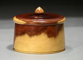 Rare Australian Mulga Wood Treasure Box by Ray Asselin, at Bowlwood.com.