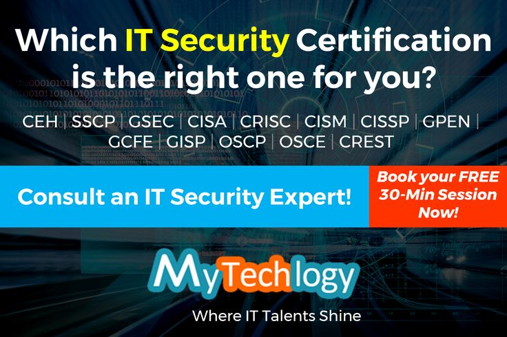 Get #careeradvice from an IT Security expert. Find out which #ITsecurity certification is the right one for your career progression. FREE 30-min consultation also available (No Credit Card Required). To book your appointment now visit: https://www.mytechlogy.com/IT-career-development-services/career-coaches/Max-Boedder/