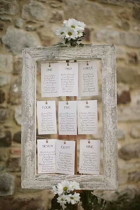 Rustic seating chart with pegs and frame