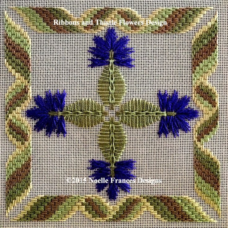 Ribbons and Thistle Flowers with Bargello style ribbon border