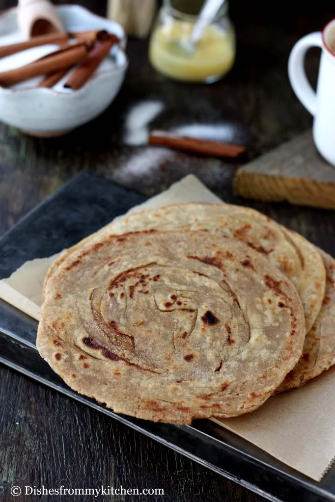 Dishesfrommykitchen: CINNAMON PARATHA(LAYERED INDIAN BREAD) !!! FLAKY,TASTY AND HEALTHY !!!