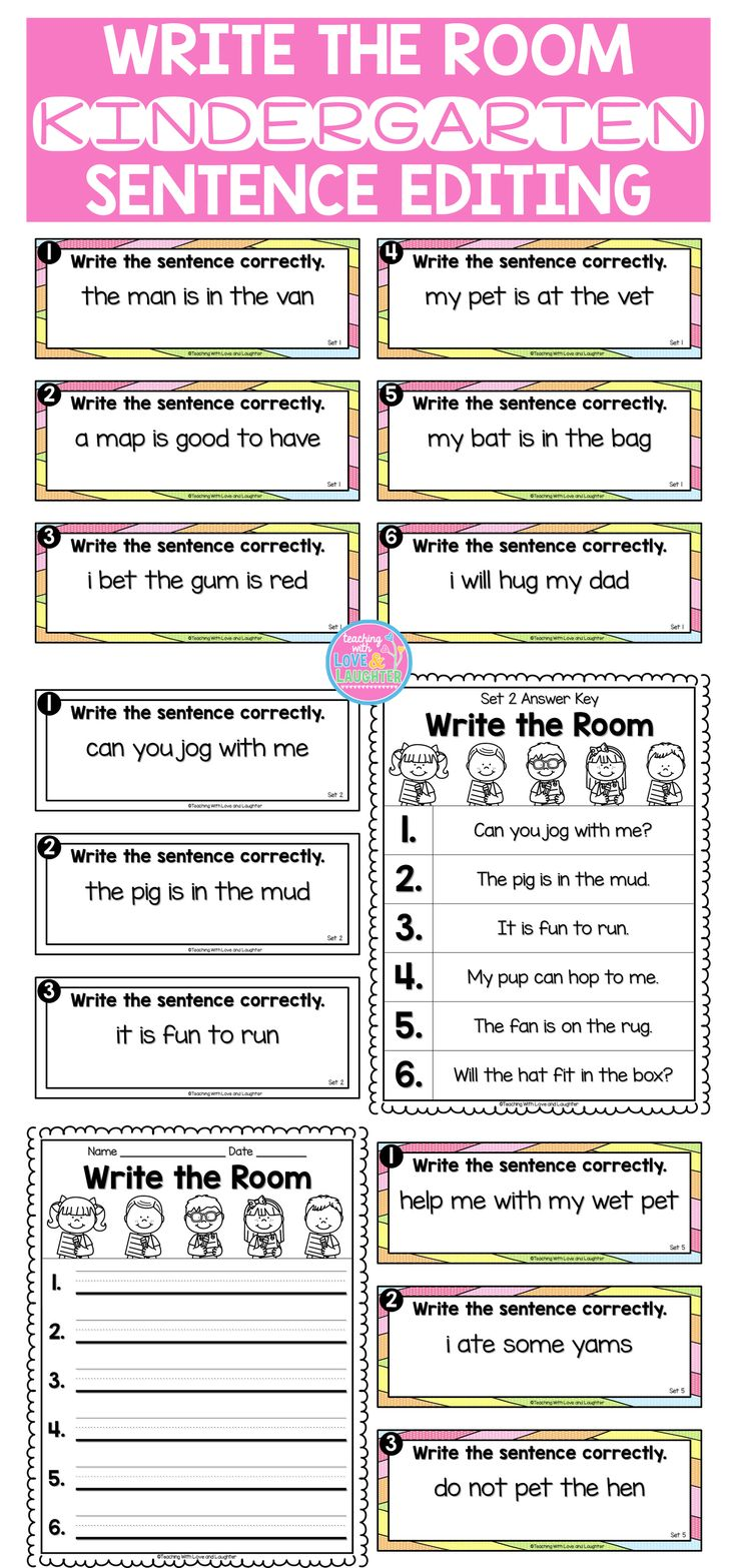 This write the room activity will keep your students active and engaged, while they walk around the classroom, reading and rewriting simple sentences, editing them for errors in capitalization and punctuation. This is also a prime time to have them practice writing neatly.   There are 6 different write the room activities. Each one contains mostly CVC words and high frequency words.