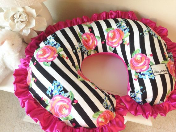 Black and White Stripe and Hot Pink Nursing Pillow Cover for Baby (Boppy Cover) by ShopRitzyBaby