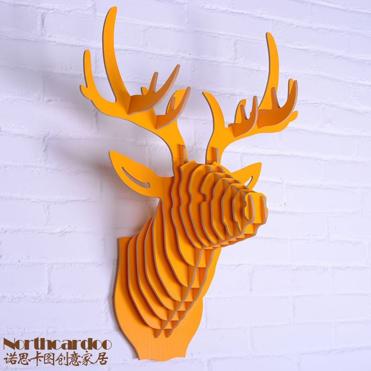 Oranje kleur houten ambachten van gemakkelijk diy montage faux hert herten hoofd muur opknoping of elanden hoofd in huis& tuin voor huisdecoratie