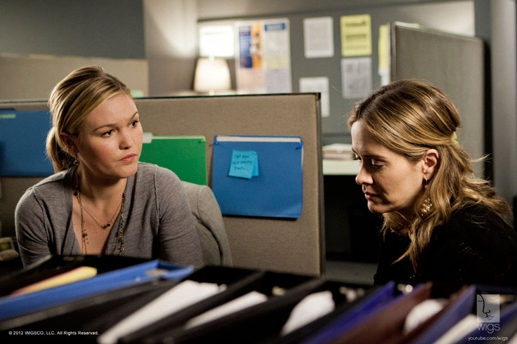 """Julia Stiles and Sarah Paulson on the set of """"Blue.""""#watchwigs www.youtube.com/wigs"""