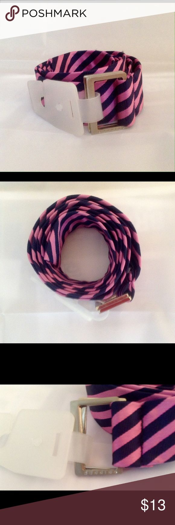 "DUNNING TIE BELT Dunning tie belt, navy blue and pink, measures 51"" in length, size large. Dunning Accessories Belts"