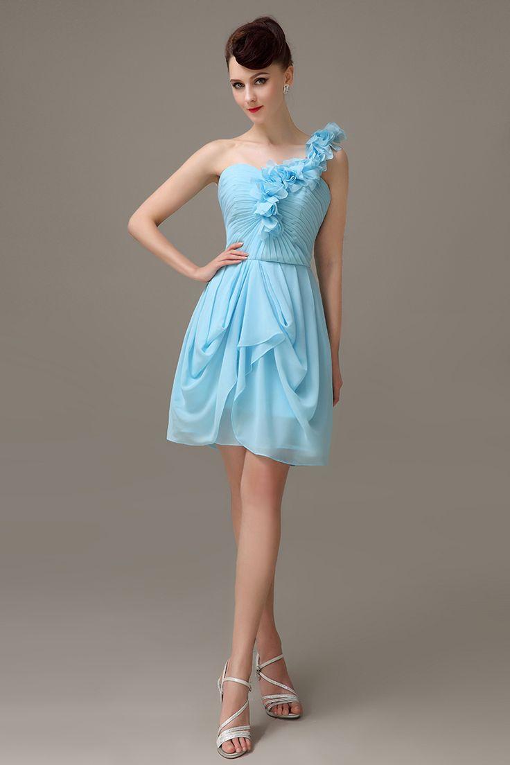 58 best new bridesmaid dress images on pinterest dress formal sky blue one shoulder short simple chiffon junior bridesmaid dress cheap customized pleats bridesmaid dress bd421 ombrellifo Gallery