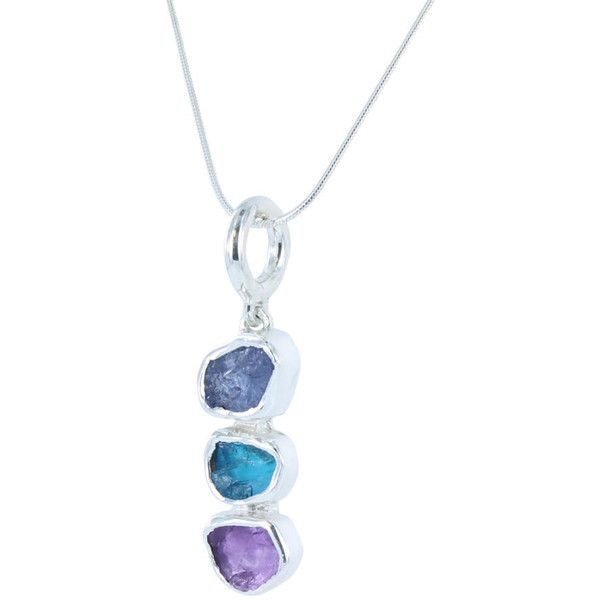 Women's Silver Necklace by Reeves and Reeves Rough stone Tanzanite,... ($106) ❤ liked on Polyvore featuring jewelry, necklaces, stone pendant necklaces, stone pendants, tanzanite pendant, stone necklaces and tanzanite necklace
