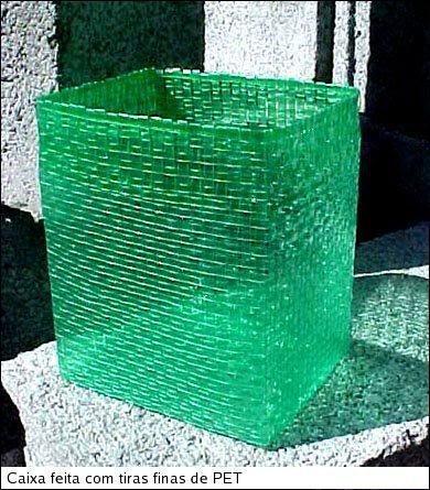 A pretty basket made from soda bottle strips