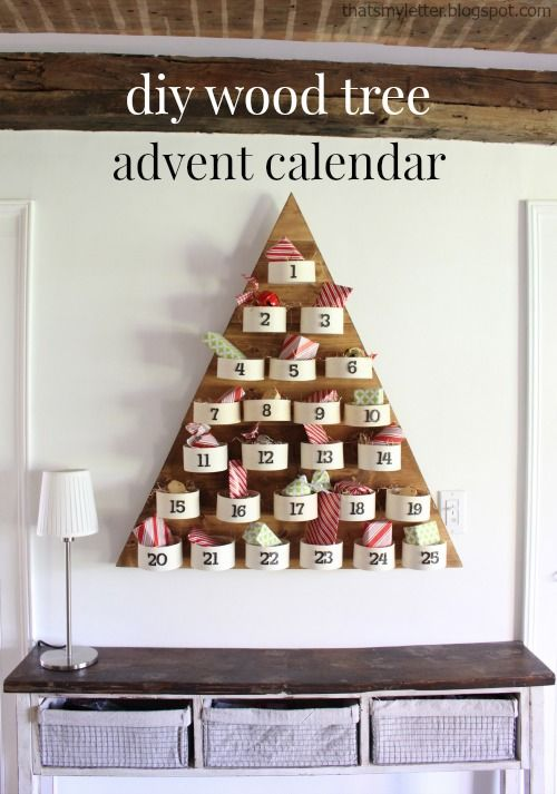 """That's My Letter: """"T"""" is for Tree Advent Countdown Calendar, diy wood tree advent calendar"""
