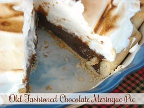 Mommy's Kitchen - Recipes From my Texas Kitchen:The best Old Fashioned, Diner Style Chocolate Meringue Pie. A Rich homemade chocolate pudding pie topped with a fluffy meringue. #pie #chocolatepie #oldfashioned #dinertyle #mommyskitchen