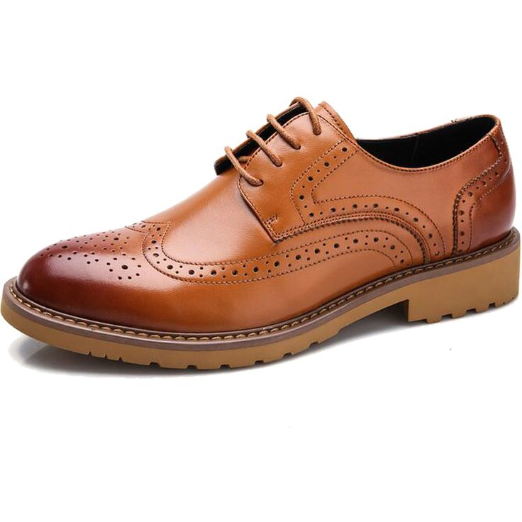 Men Dress Shoes Man Fashion Wedding Brogue Flats Genuine Leather Shoes 2016 Spring Real Cow Leather Shoes Men's Oxfords