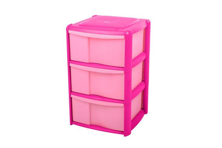 Form Pink Plastic 3 Drawer Tower   Rooms   DIY at B&Q
