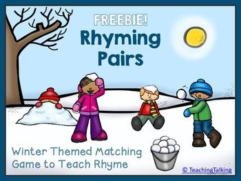 Winter Rhyme Game - Winter Themed Matching Pairs (Freebie) Match the rhyming words as you help collect the snow balls! Contains 20 cards with rhyming pictures (words written underneath) with a cute winter / snow ball theme. ~~~~~~~~~~~~~~~~~~~~~~~~~~~~~~~~~~~~~~~~~~~~~~~~~~~~~~~~~~~~~~~~~~~~ For more rhyming activities and exceptional value, check out: Rhyme Games & Activity Packet for Centers.