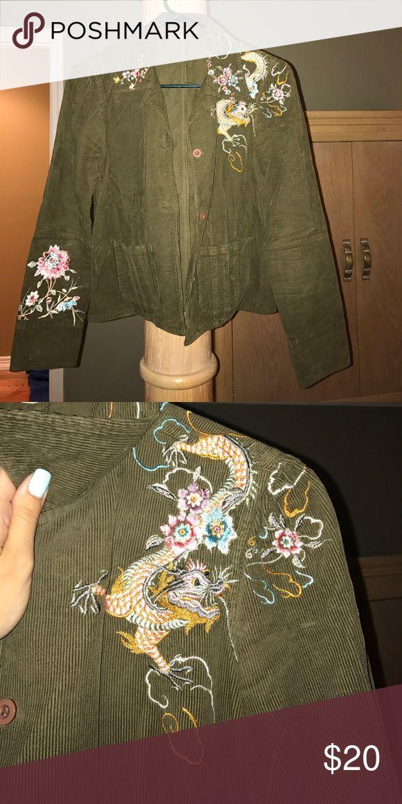 Johnny Was Olive green blazer Olive corduroy blazer with embroidered detailing Johnny Was Jackets & Coats Blazers