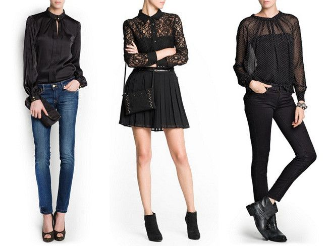 blusa negra transparente outfit - Buscar con Google