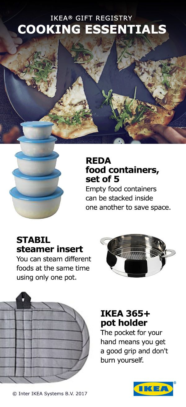 Throw out the take-out menus! You'll want to eat in every night with these kitchen essentials. Add cooking essentials like knife sets, frying pans and food containers to your IKEA Wedding Gift Registry!