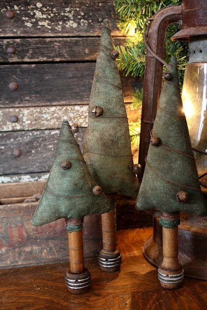 ~ Primitive Trees w/ Bells ~ by Rock River Stitches....