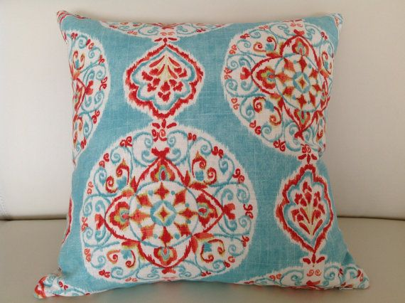 Love this!  Blue and red/orange go so well together!  Designer Mirage Boho Linen Cushion Cover by IslandHomeEmporium, $35.00