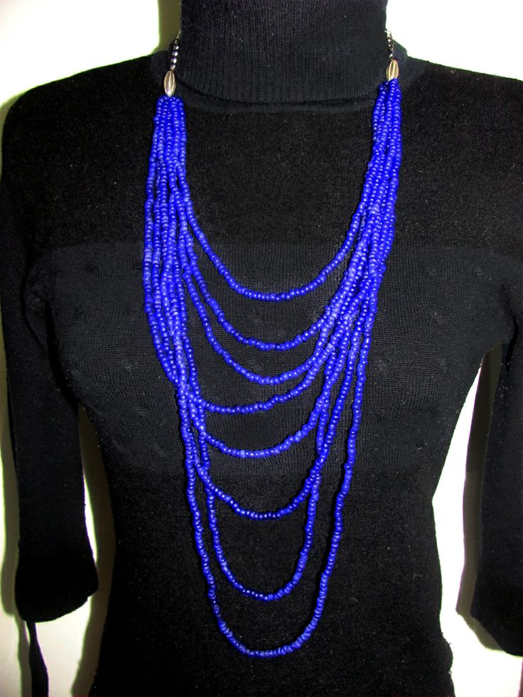 Collar chaquiras hielo - azul violeta