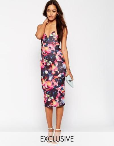 Oh My Love Vestido de tubo palabra de honor con estampado floral digital Flores multicolores #technology #women #covetme